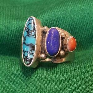 Vintage Sterling silver turquoise adjustable ring